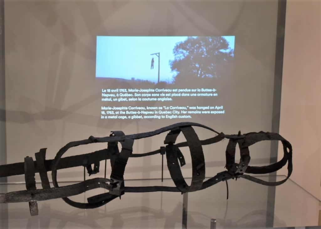 Finding this gibbet on display reminded us of stories we had heard during a ghost walk in Old Quebec City.