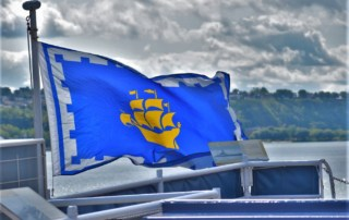 The wind blown flag was an iconic marker for AML Cruises.