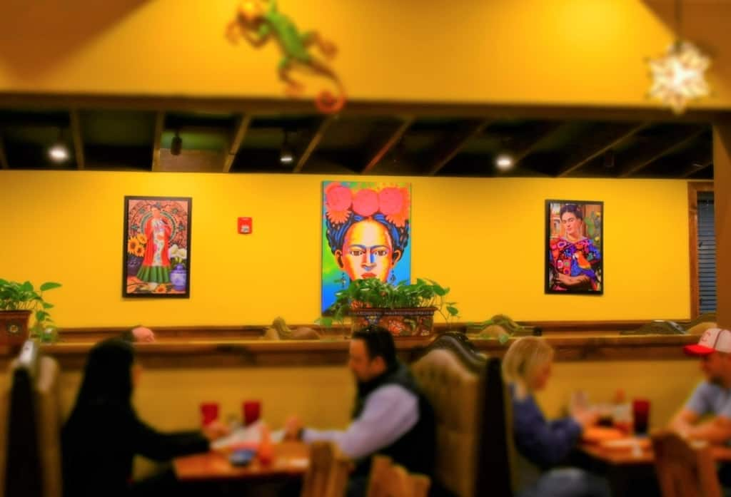 The colorful dining room lets our eyes taste the colors of Mexico at El Toro Loco.