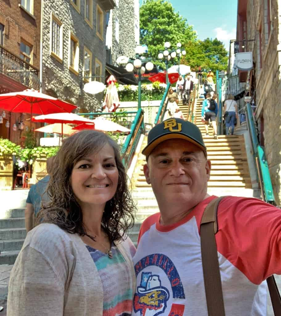The authors prepare for another journey up the Breakneck Steps after a visit to Rue du Petit Champlain.
