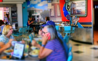 Patrons find themselves calling all Route 66 lovers to join them at Lucille's Roadhouse in Weatherford, Oklahoma.