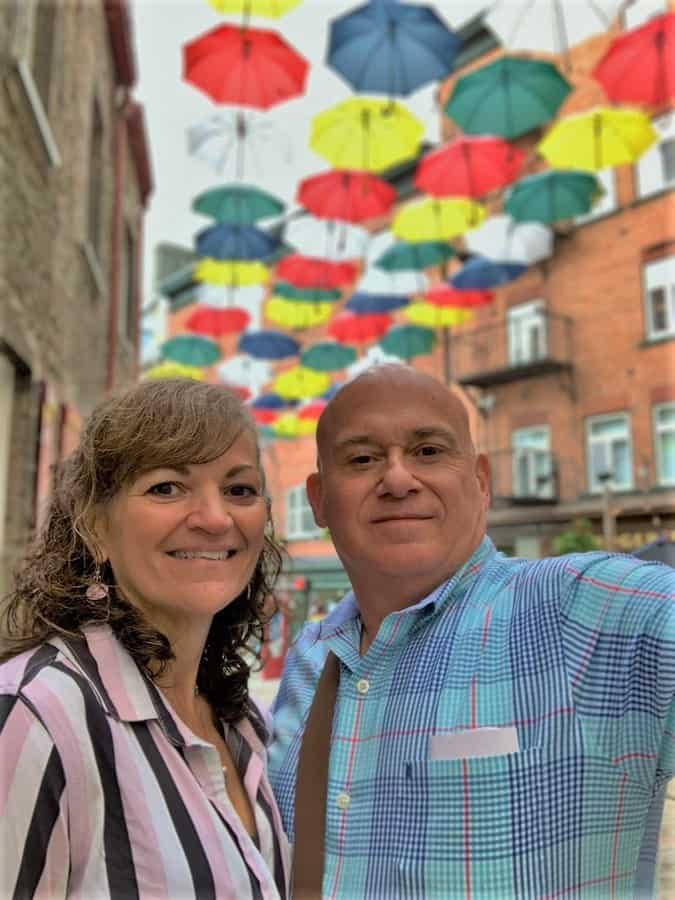 The authors pose for a selfie along one of the tourist friendly streets in Quebec City.