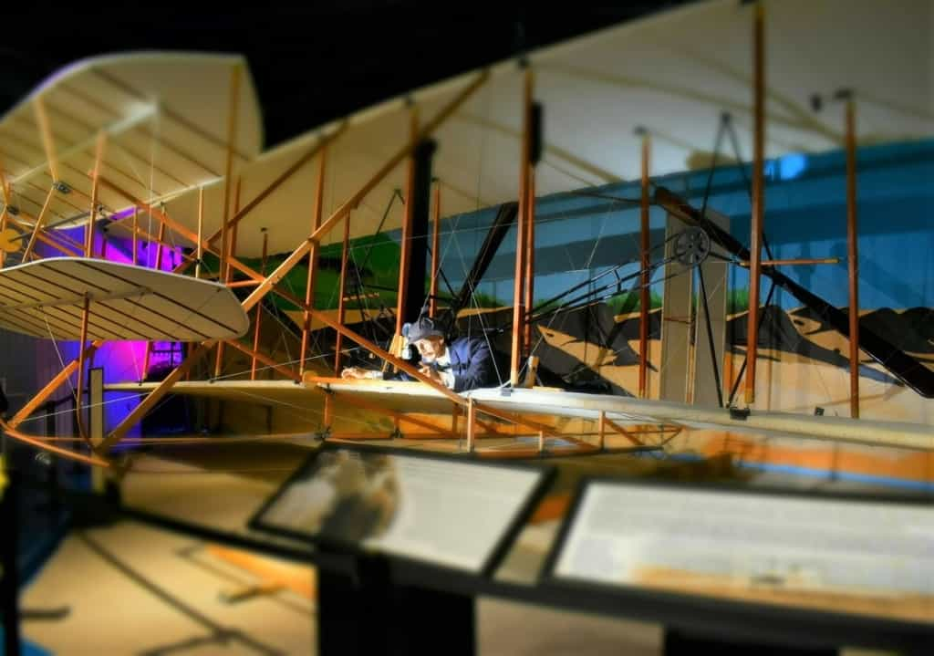 A model of the Wright Brothers airplane reflects just how far mankind has come in flight.