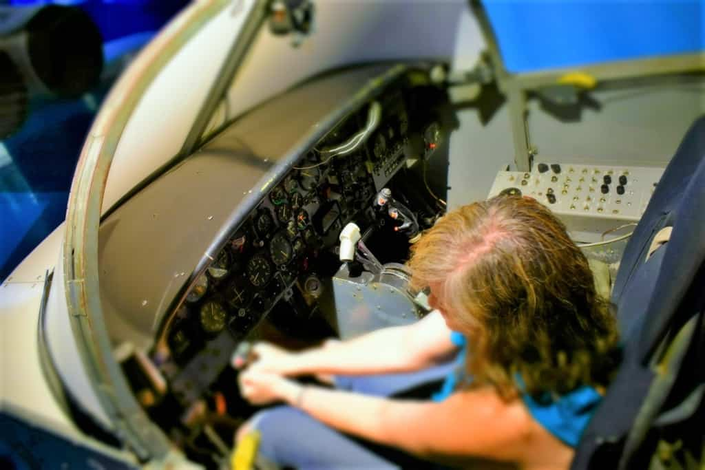 Crystal enjoyed imagining herself as a jet pilot in one of the hands-on exhibits.