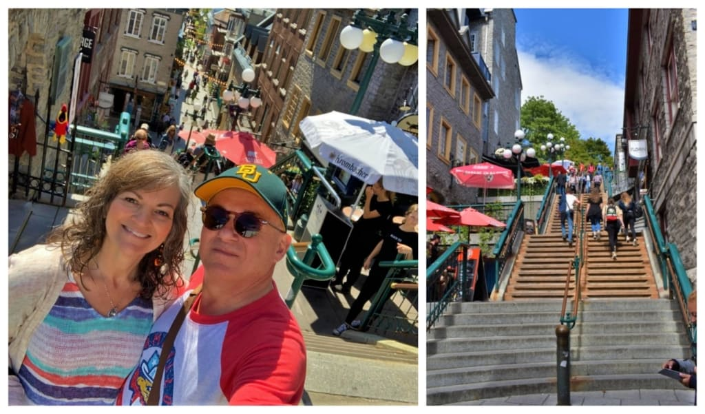 Traversing the Breakneck Steps is challenging, but helps burn off calories we gained at the many delectable dining options in Quebec City.