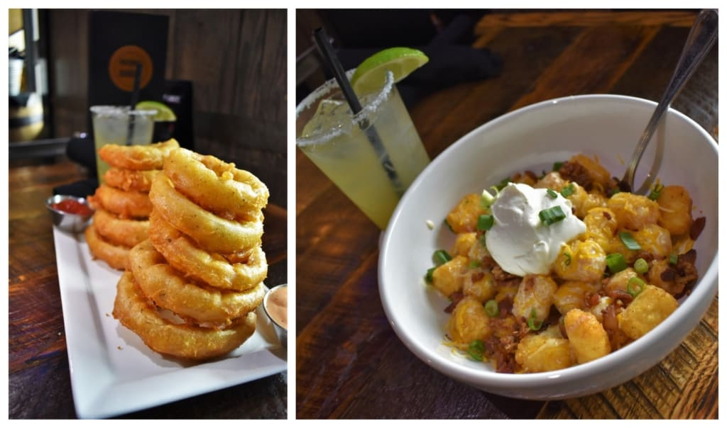 Tapping into taste, at Burg and Barrel, included a couple of appetizer dishes like Onion Rings and loaded Tator Tots.