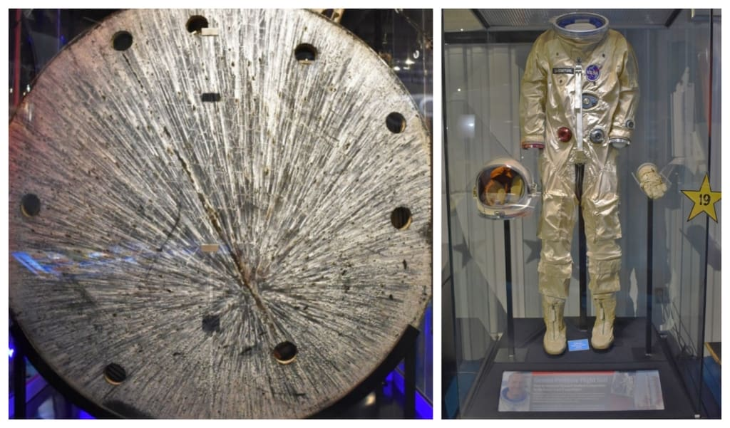 Artifacts from space flights are on display at the Stafford Air & Space Museum.