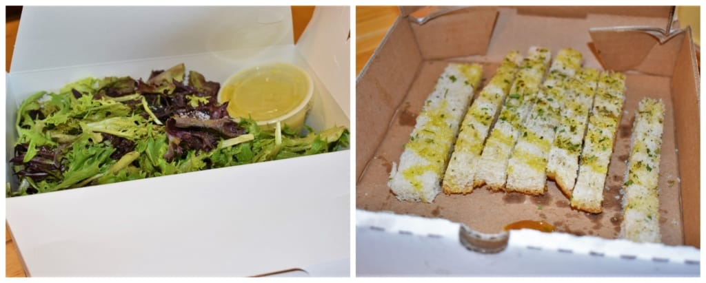 Salad and breadsticks are great for an appetizer, while waiting for our Italian take & Bake to cook.