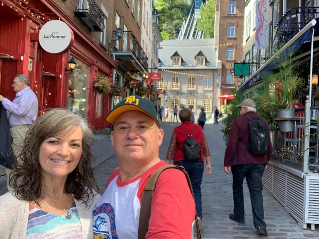 The authors soaking up the atmosphere of Lower Town in Quebec City.