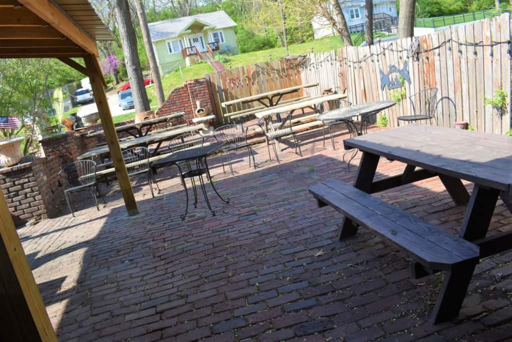 This patio is usually teeming with activity.