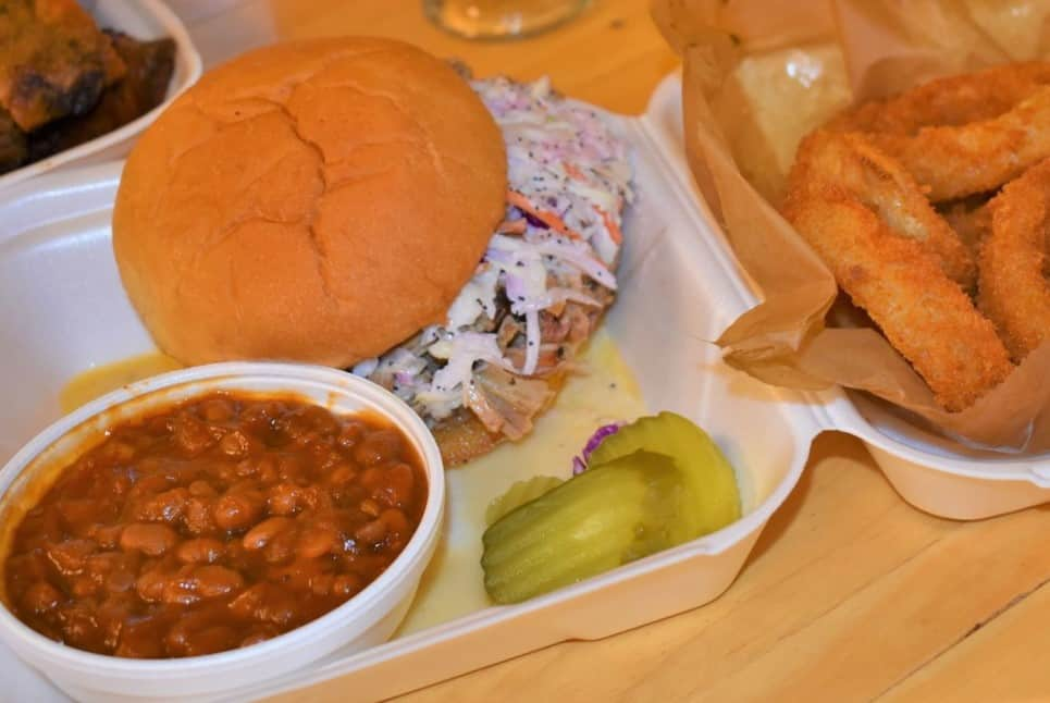 Carolina style sandwich combines the tastes of pulled pork and Cole slaw.