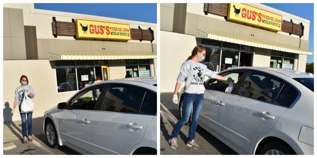 The staff at Gus's Fried Chicken are spicing up carryout with curb service that includes their delicious fried chicken.