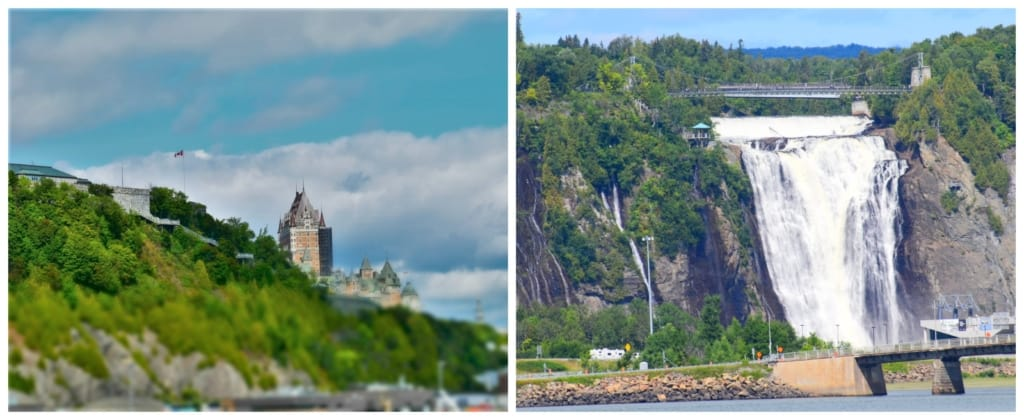 Sights of the city skyline and Montmorency Falls can be found during a sightseeing cruise along the St. Lawrence River.
