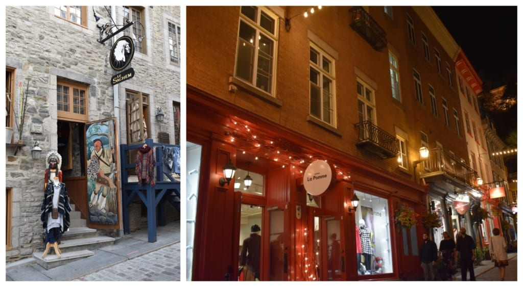 Shops of all types can be found scattered throughout Lower Town in Quebec City.