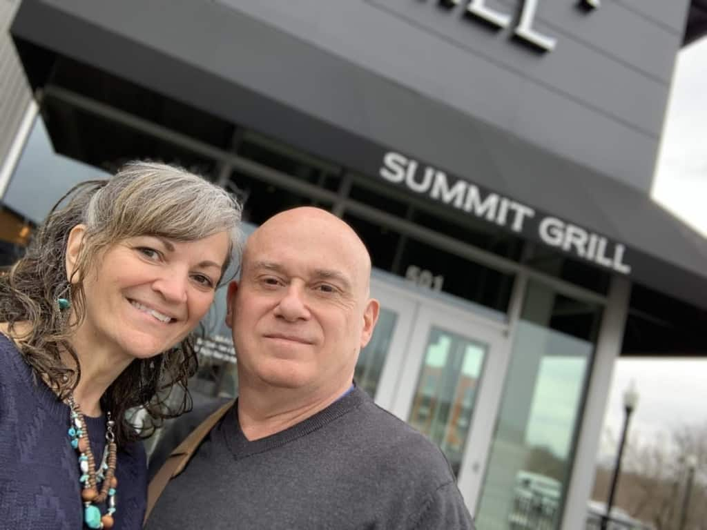 The authors pause to reflect on their brunch meal at Summit Grill in Gladstone, Missouri.