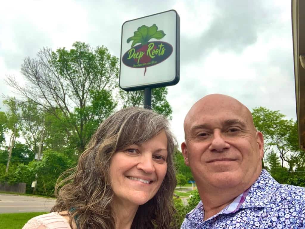 The authors pause for a selfie at Deep Roots Restaurant in Kansas City, Kansas.