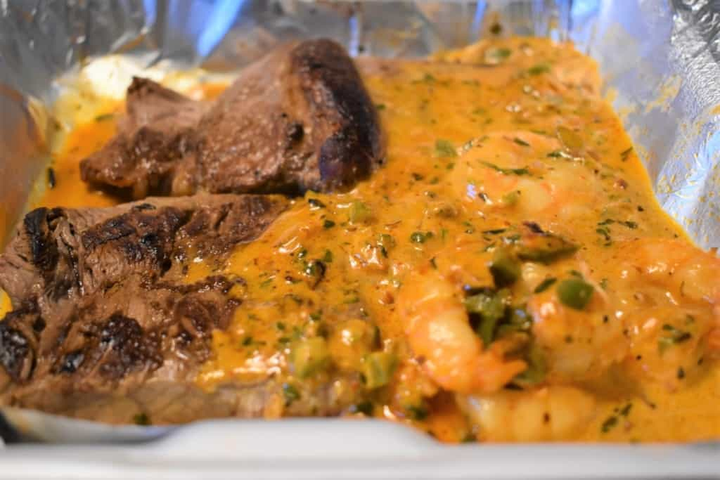 Steak and Shrimp combines the flavors of the land and sea with a delightful jalapeno cream sauce.