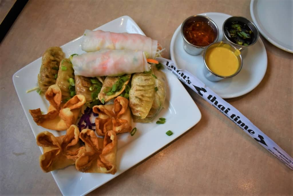 The Sampler Platter makes a beautiful presentation of Thai inspired dishes at Lulu's Noodles.