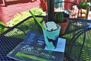A colorful shake makes the perfect accompaniment for a lunchtime meal at Catalpa Restaurant.