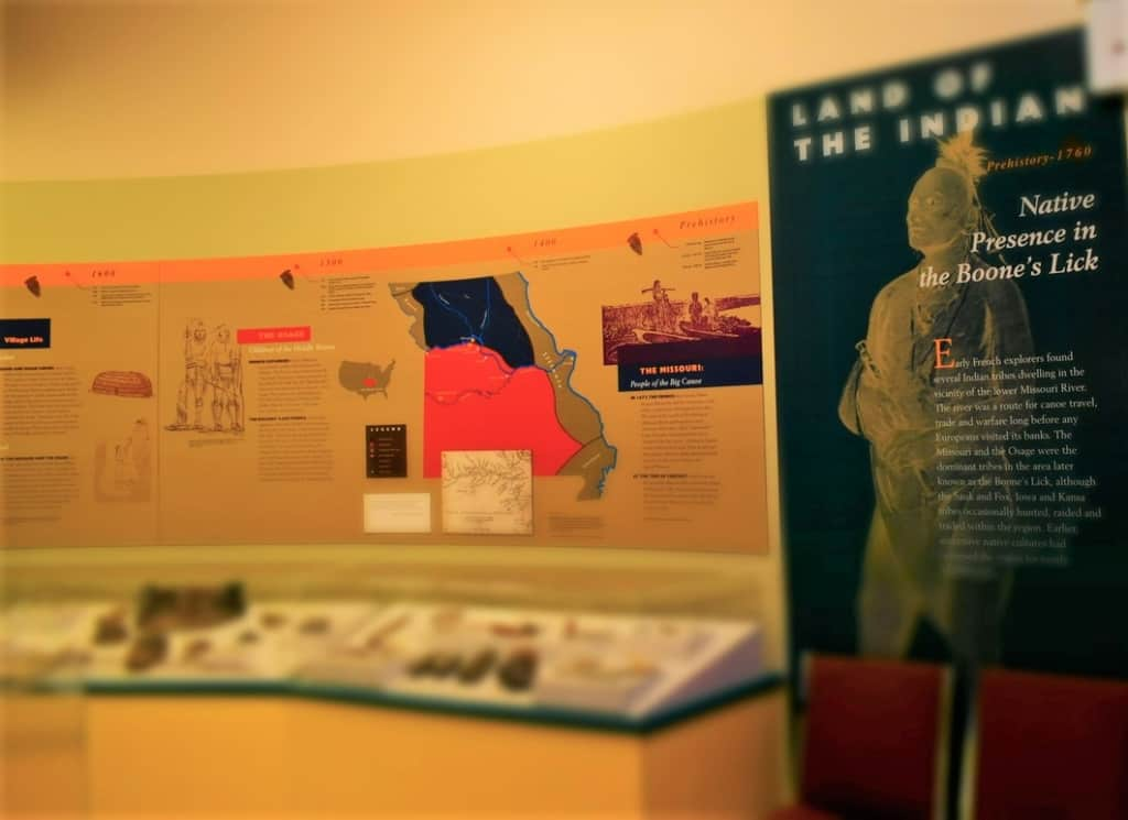 A display on the native Indians starts the exploration of life in the Boone's Lick.