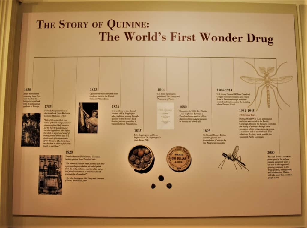 A timeline shows how the use of quinine has adapted over time.