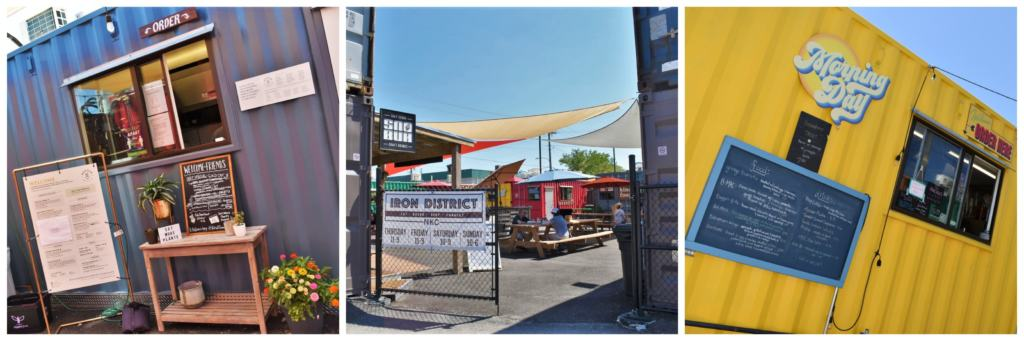 he Iron District is an assortment of shipping containers that have been repurposed as homes for small businesses.
