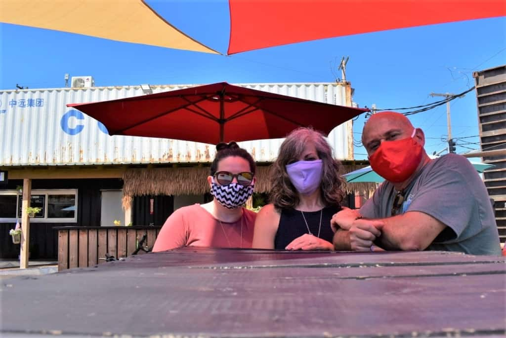 The authors are joined by their daughter for an afternoon of exploring the Iron District.