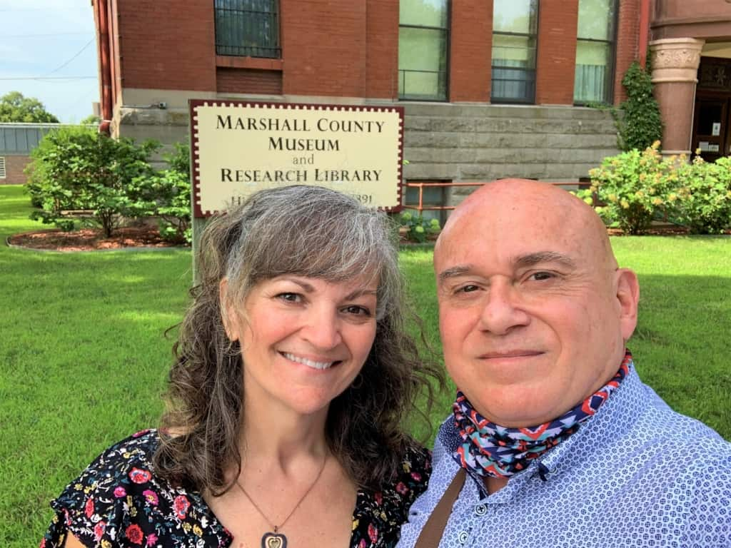 The authors pose for a selfie outside of the Marshall County Museum in Marysville, Kansas.