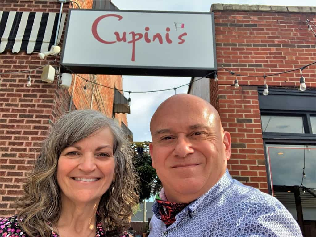 The authors pause for a selfie before exploring the menu at Cupini's in Kansas City.