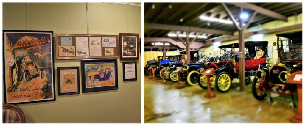 A bevy of beautiful autos line the floor at the Mitchell Car Museum.