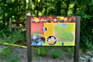This sign welcomes visitors to the Parkville Nature Sanctuary.