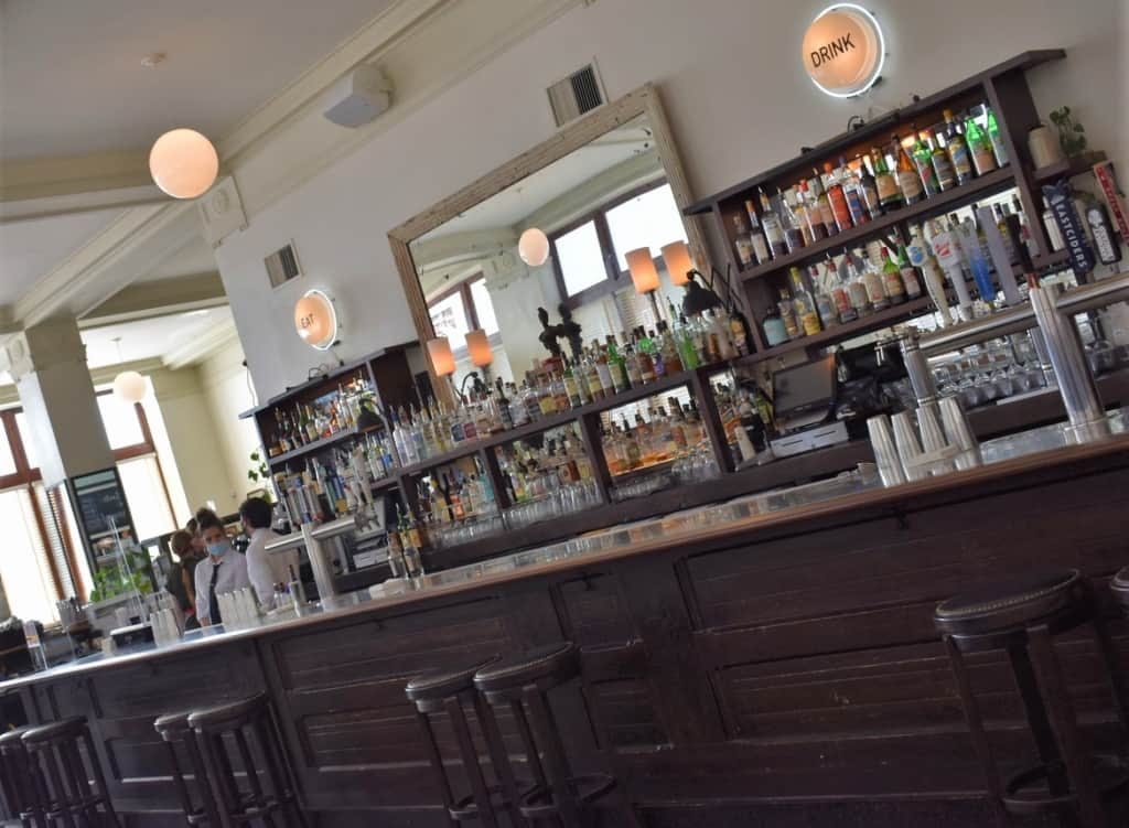 The oversized bar is popular with visitors during Happy Hour.