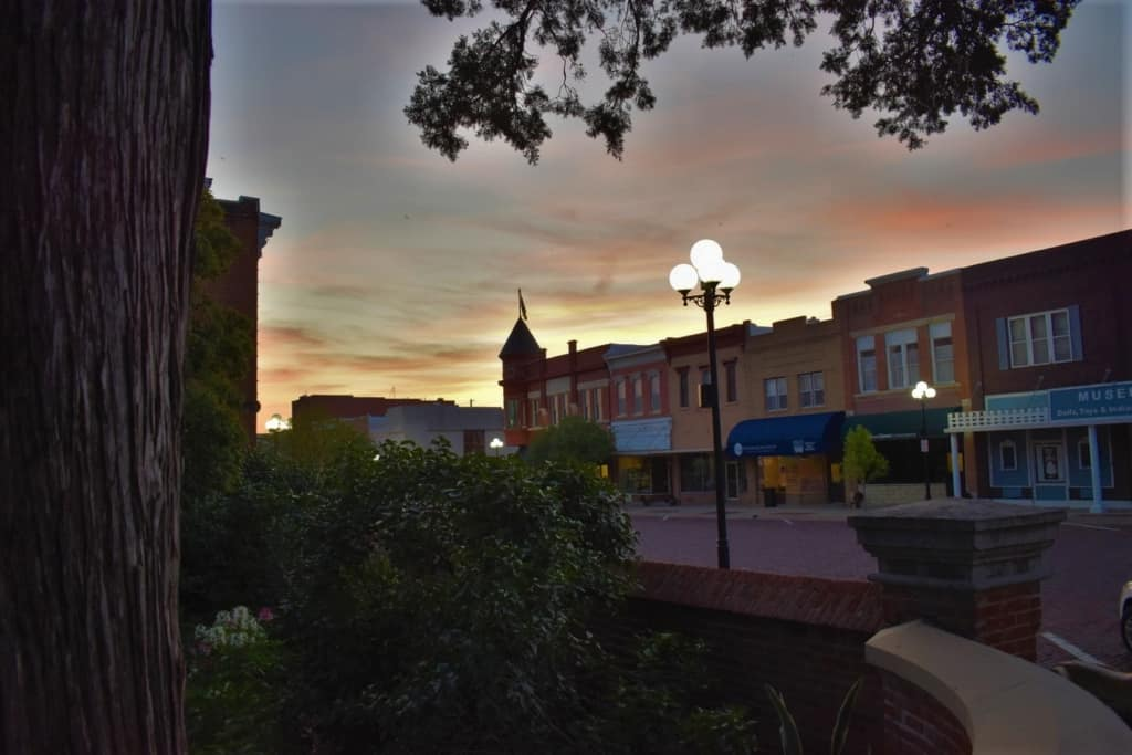 A beautiful sunset is another reason to fall in love with Marysville's downtown.