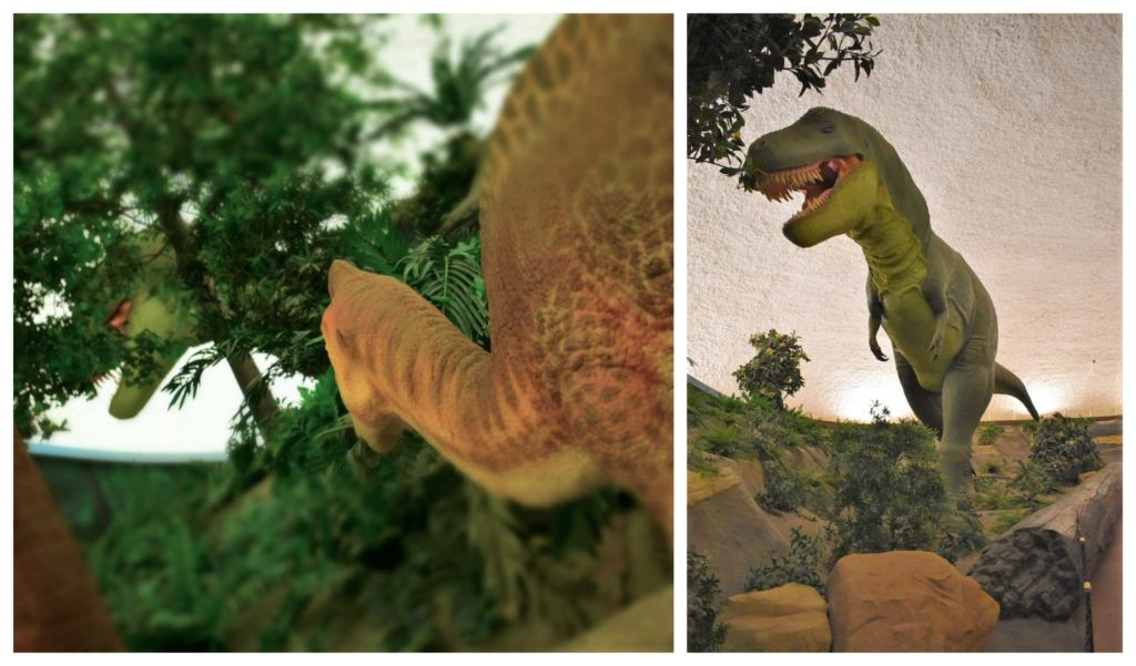A T-Rex hunts for dinner, as a young plant-eater watches from cover.