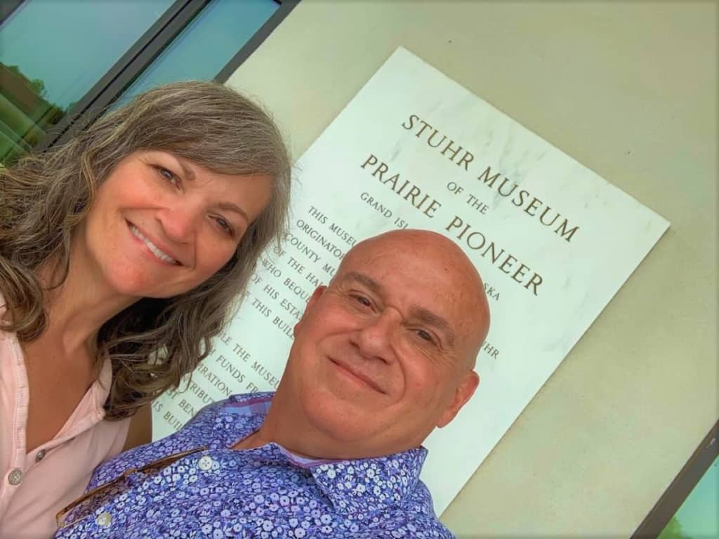 The authors pose for a selfie at the Stuhr Museum in Grand Island, Nebraska.