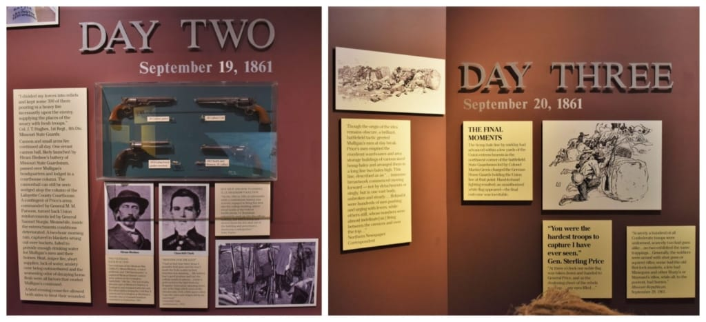 Informational panels, at the Battle of Lexington Museum, tell how the battle progressed.
