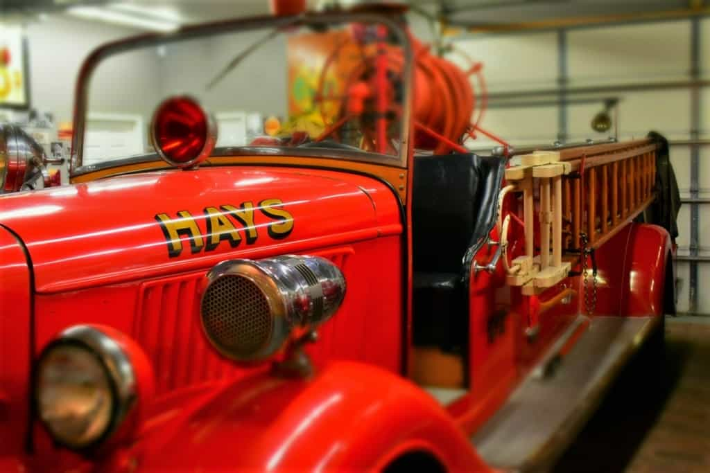 This Ford Firetruck still bears the familiar name of Hays, Kansas.