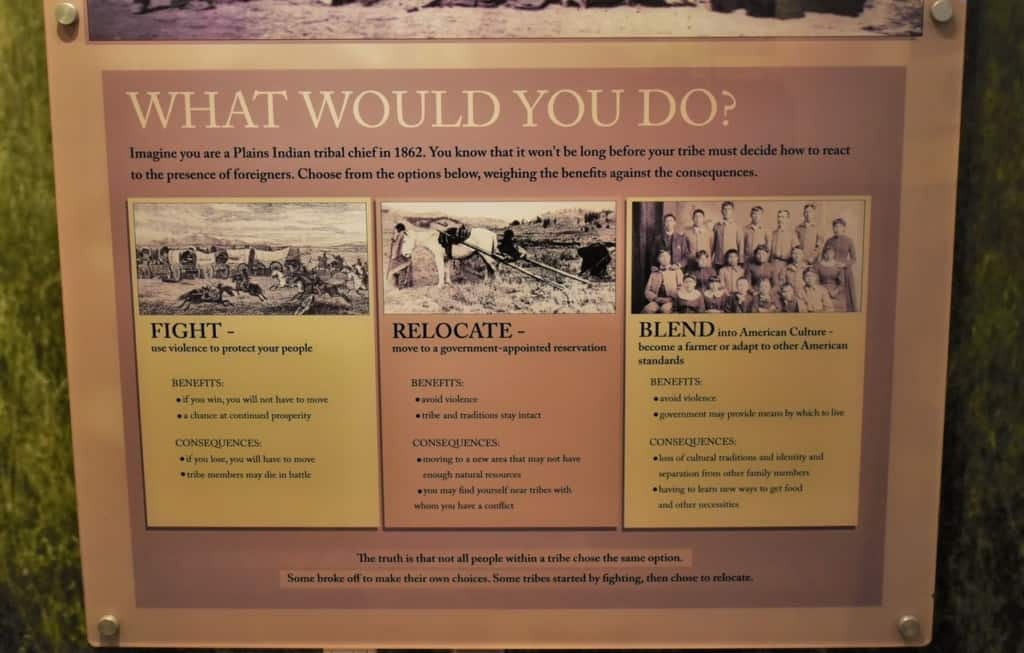 An interactive exhibit at Fort Hays challenges visitors to see the past through the eyes of the native Indians.