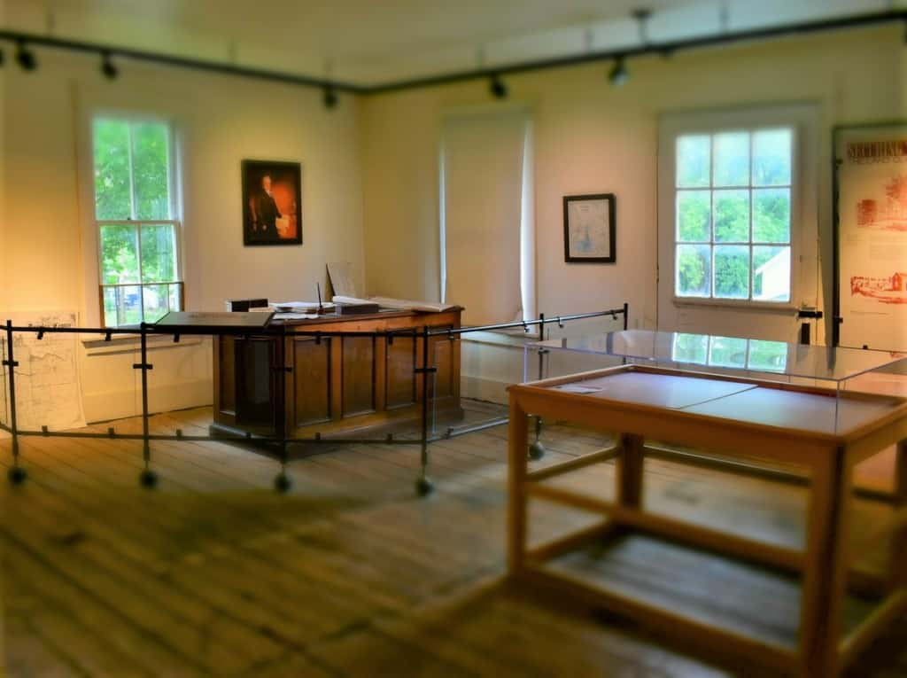 The first floor of Lecompton Constitution Hall held the very busy United States Land Office.