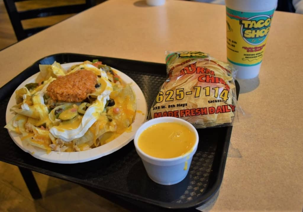 The Chicken Nacho is a blend of delicious ingredients designed to highlight the 50 years and counting of food service at Taco Shop.