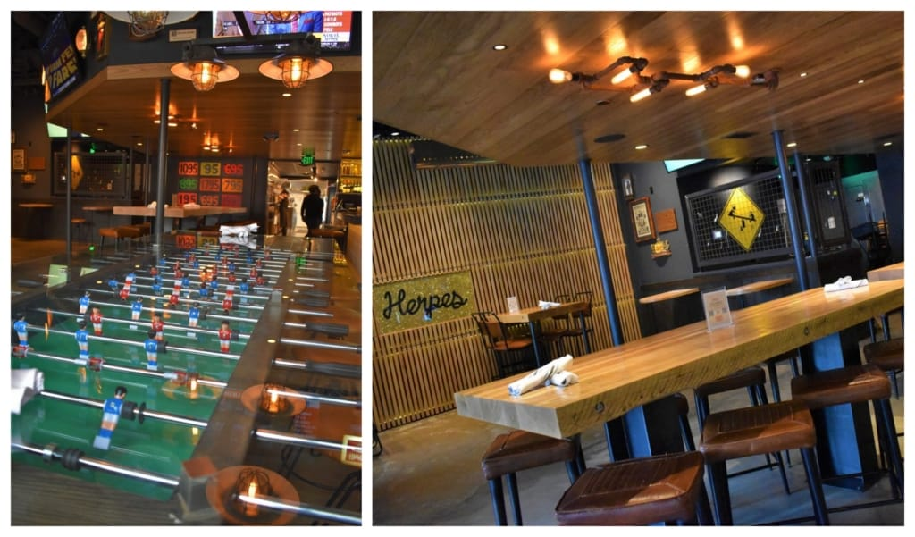 The industrial vibe plays well with the oversized foosball table.