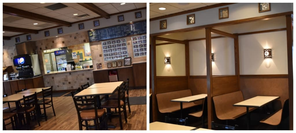 The interior of Taco Shop offers guests clean lines and comfortable seating.