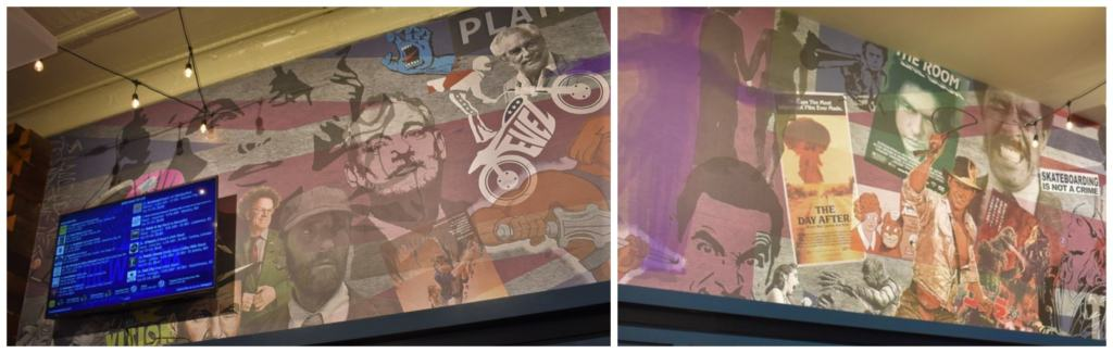 The murals on the walls are tied to Kansas characters and events.