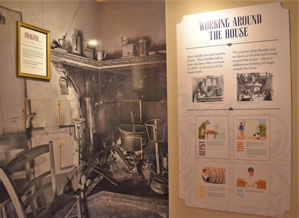 One of the displays shows the household duties of each of the characters in the book.