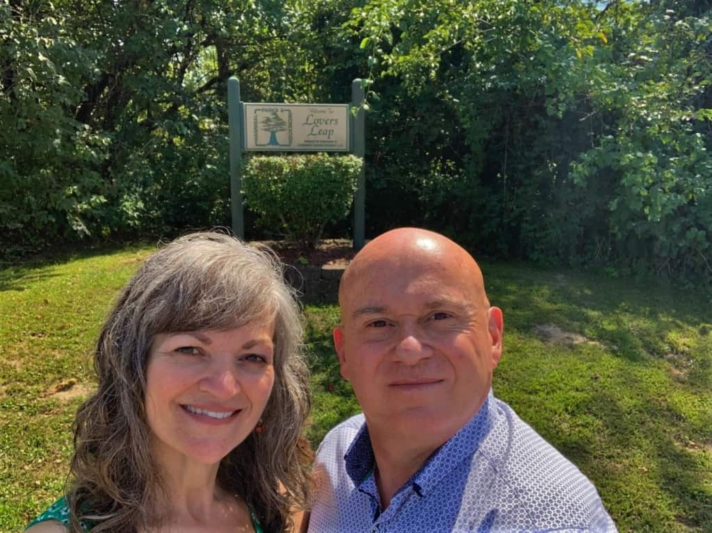 The authors pause from their explorations to take a selfie at one of the hidden history spots in Hannibal, Missouri.