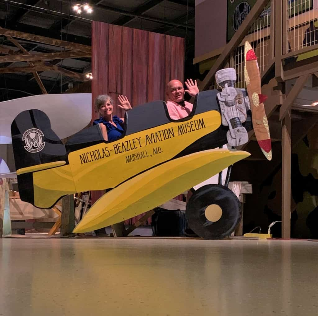 The authors take to the sky during a selfie moment at the aviation museum.