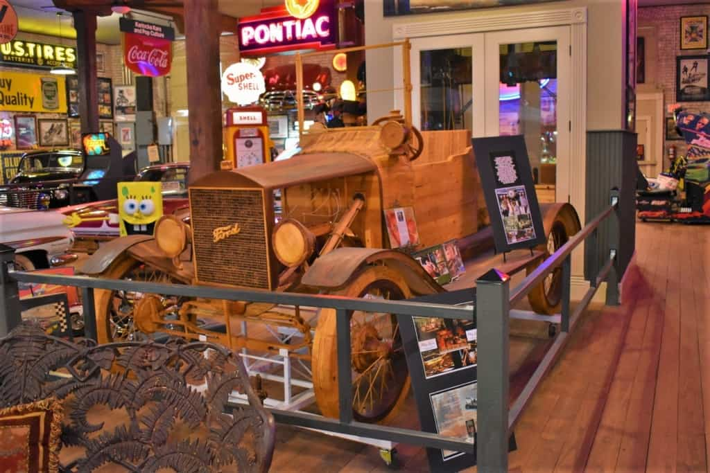 A wooden car is one of the weird items that can be found during a visit to Karlock's Kars in Hannibal, Missouri.