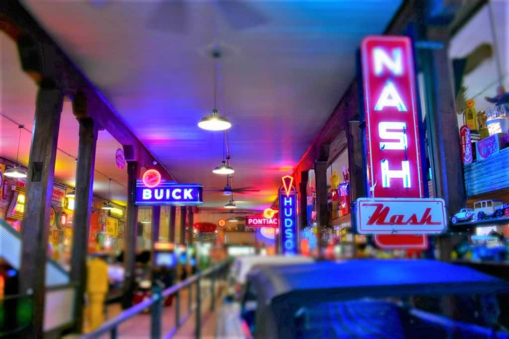 The iconic neon signs reminded us of how many car companies helped travelers become tied to the road.
