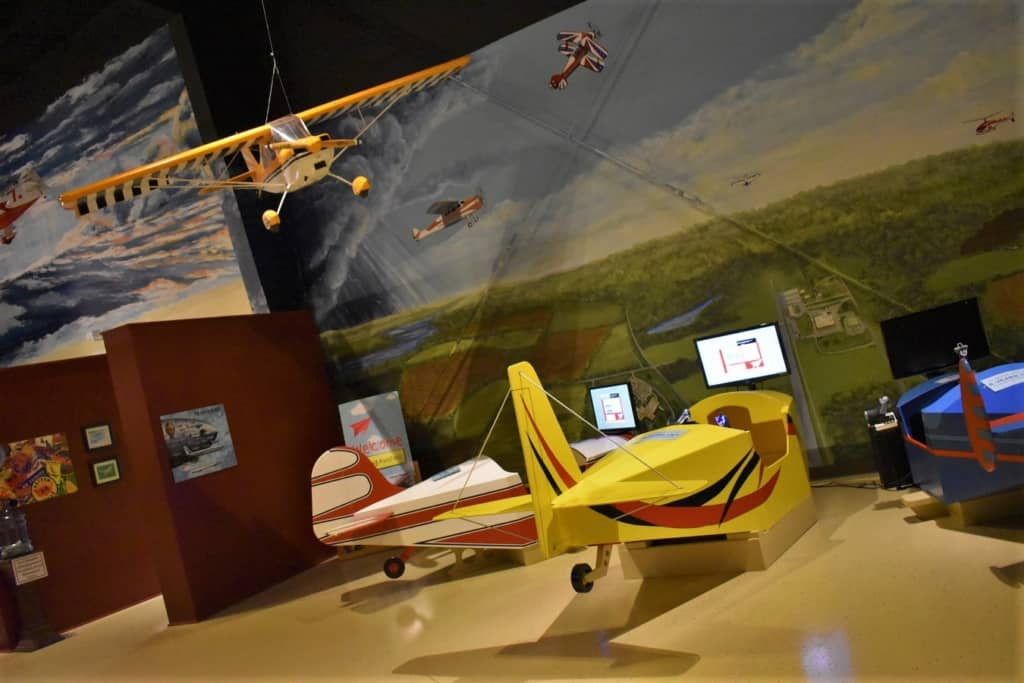 Flight simulators allow guests to take to the skies virtually.
