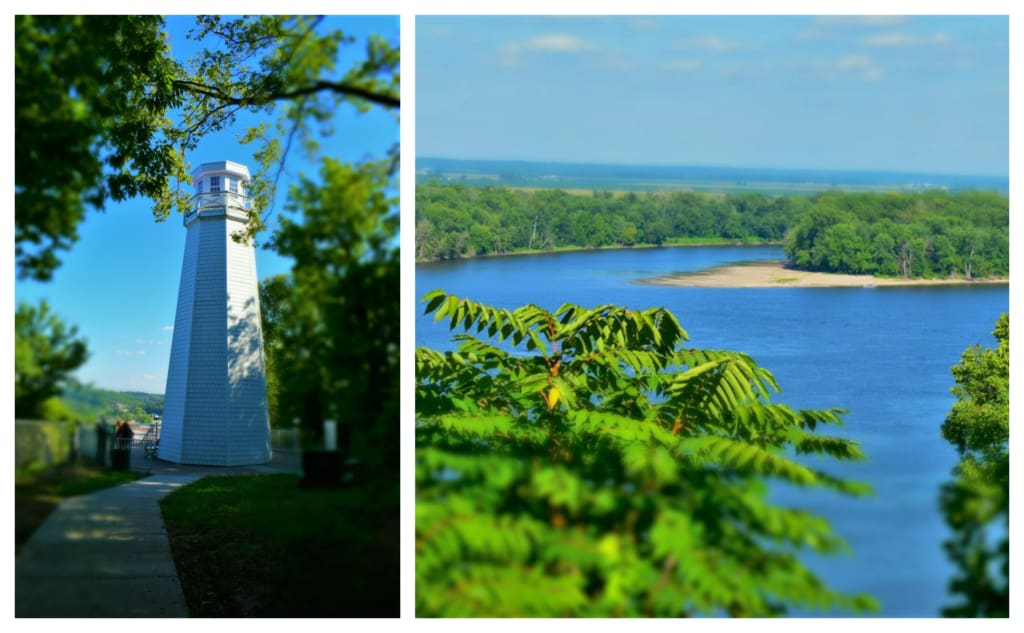 The Mark Twain Memorial Lighthouse is the perfect spot for observing the mighty Mississippi River.